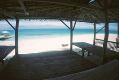 Nipa Hut (mayrpamintuan) Tags: travel sea summer sun film beach water analog island photography photo lomo lomography waves tour philippines sunny tropical tropic analogue davao pilipinas samal