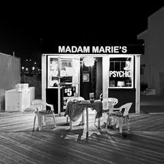 Madam Marie's (Empty Chairs Version) (BW3200) Tags: blackandwhite bw beach monochrome newjersey asburypark nighttime shore boardwalk jerseyshore wideanglelens madammaries newjerseyshores olympusem5 garryvelletri