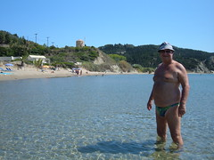 Ericousa - In the sea by the harbour beach (pj's memories) Tags: beach sunglasses seaside windmills greece bathing sunhat tanthru kiniki ereikoussa