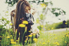 Taking Pictures of Flowers (Amanda Mabel) Tags: flowers summer portrait girl grass yellow japan canon photography hokkaido bokeh sister faceless otaru takingpictures flowerfield summerflowers amandamabel amandamabelphotography