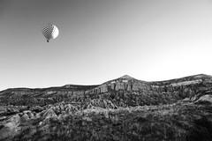 Flying 4 (B&W) (Janko Jerinic) Tags: travel summer bw white black hot monochrome turkey air balloon flight documentary cappadocia goreme