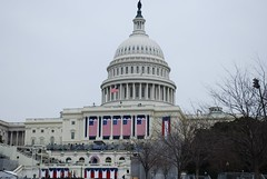The U.S. Capitol, decked out for Barack Obama's first inauguration. (gjbarb) Tags: washingtondc dc uscapitol capitol obama capitolhill inauguration barackobama