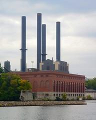 U of M Steam Plant (rexp2) Tags: industry smokestack mississippiriver powerplant sonynex5n nikkorpc85cmf2rangefinder85mm vacation2013fall