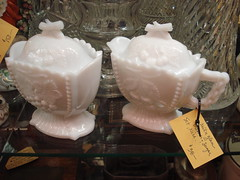 "SET OF MILK GLASS CREAMER AND SUGAR, GOOD CONDITION. • <a style=""font-size:0.8em;"" href=""http://www.flickr.com/photos/51721355@N02/11120879325/"" target=""_blank"">View on Flickr</a>"