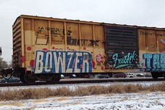 Bowzer CTD WAI EHC (SounderSix) Tags: snow train bench graffiti paint fresh graff wai freight rolling boxcars 2012 ctd bowzer ehc benching bowzr uploaded:by=flickrmobile flickriosapp:filter=nofilter