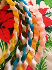 Ribbon twist garland, done (run amok) Tags: wool twist felt garland ribbon uploaded:by=flickrmobile flickriosapp:filter=nofilter