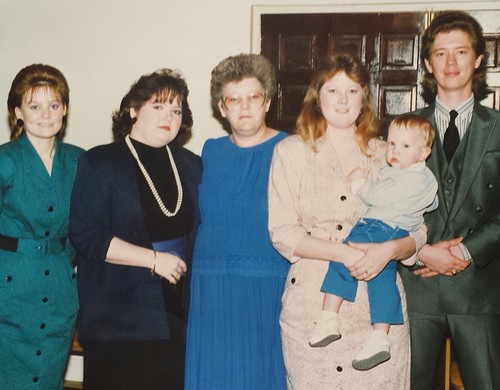 Family of William Delvie Copeland: (from left) stepdaughter Marcia, daughter Sheri (Copeland) Holloway, wife Mabel (Massey) Copeland,  stepdaughter Mona and her son Billy, stepson Jimmy, circa late 1980s?