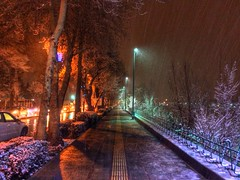 The Sidewalk (ParsiKade) Tags: snow cold night river sidewalk snowing esfahan isfahan zayanderoud uploaded:by=flickrmobile flickriosapp:filter=nofilter zayanderood|