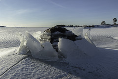 Rock and sinking ice levels (Patrik Fagerstrm) Tags: blue winter sea sky ice rock finland inkoo kopparns efs175528 canon600d