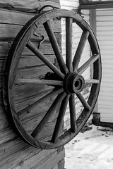 A Wheel From The Past (k009034) Tags: old travel winter beautiful wheel wall museum canon vintage finland photography eos 350d wooden log carriage antique center retro ornament round hanging rebelxt jyväskylä beautifulearth
