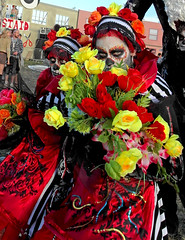 RED (seven_resist) Tags: show girls red party england rot art girl make up festival rouge town theater artist open walk air decoration makeup blumen boom rosso act farben boomtown coulours flowerd macrching {vision}:{outdoor}=0669 {vision}:{flower}=0606 {vision}:{plant}=0787