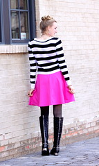 Pink (Thedrawingmannequin) Tags: pink white black hot leather metal boot sweater boots metallic stripes stripe magenta riding heels cropped jeffrey heel campbell snakeskin blackandwhitestripes