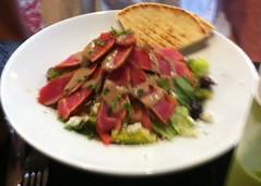 GREEK SALAD WITH AHI TUNA TROY RESTAURANT BERKELEY CA. (ussiwojima) Tags: california food dinner lunch berkeley lamb greeksalad troyrestaurant