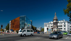 Reflections, Rust and Towers (Jocey K) Tags: road street new city newzealand christchurch sky colour cars architecture buildings reflections flags clocktower repair nz cbd rebuild rebuildconstuction