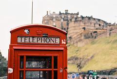 Edinburgh Telephone Box (BazzaStrae) Tags: city winter film canon scotland edinburgh kodak 100 a1 2014 ektar