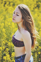 """Like your bday"" (peedrojimenez) Tags: flowers light portrait sun film girl weather yellow vintage 50mm spring nikon warm sunny retro bikini blonde f18 d3100"