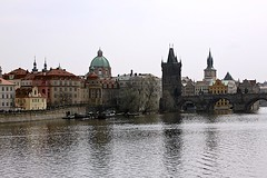 Vltava River and the Charles Bridge (oxfordblues84) Tags: city reflection water reflections river boats boat europe prague towers praha czechrepublic charlesbridge vltavariver vikingrivercruise 5photosaday oldtownbridgetower saintfrancisofassisichurch saintfrancisofassisichurchprague
