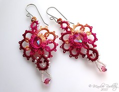 Tatted Earrings Grand Aura (yarnplayer) Tags: earrings beaded tatting handdyed tatted
