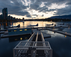 Sea planes (Natal...) Tags: coalharbour vancouver urban sunset city outdoor water reflections sky canada golden britishcolumbia yellow blue