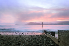 (leighbeta) Tags: seascape sea ocean surf beach coast coastline coastalpath sand longexposure night sunset dusk twilight groyne castle ferryside llansteffan carmarthenshire wales cymru fog foggy mist clouds sky waves canon