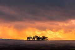 sunset 2016 (junjiaoyama) Tags: japan sunset sky light cloud weather landscape orange yellow contrast colour bright lake island water nature winter
