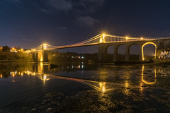 'Menai By Moonlight' (Kristofer Williams) Tags: menaisuspensionbridge menaibridge moonlight bridge menaistraits anglesey landscape longexposure seaweed water landmark night nightscape