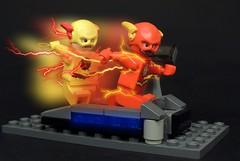 Cosmic Race (MrKjito) Tags: lego minifig flash comic comics dc cosmic treadmill race moc super hero reverse barry allen eobard thawne speedforce time travel blur negative