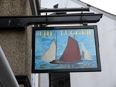 The Lugger (Worthing Wanderer) Tags: grey coast spring cornwall cloudy harbour path windy estuary april fowey dull southwestcoastpath