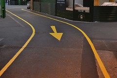 2013-05-14: Standing In The Way (psyxjaw) Tags: london tarmac yellow concrete paint floor market borough arrow marking markings londonist