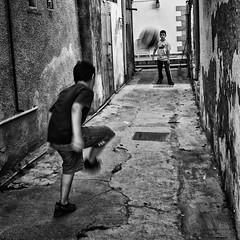 Street soccer (big andrei) Tags: street leica boy bw football play soccer 28mm grain summicron limassol turkomahallas