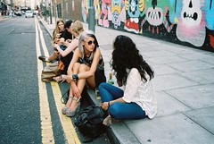 First Thursdays August 2013 - five girls sitting, Redchurch Street, Shoreditch (fabiolug) Tags: street leica girls summer people streetart color colour london art film colors girl lines fashion 35mm graffiti hipsters colours kodak candid hipster streetphotography rangefinder clothes summicron shoreditch portra m6 eastlondon yellowlines streetfashion leicam6 redchurchstreet londoners candidphotography londonist firstthursdays filmphotography portra160 leica35mm kodakportra leicam6ttl 35mmsummicronasph kodakportra160 leicasummicron summicron35mmf2asph 35mmf2summicronasph summicronm35mmf2asph leicam6ttl072 believeinfilm