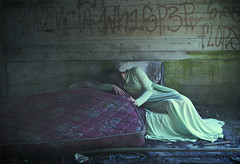 sweet dreams in sour places (elle.hanley) Tags: portrait woman green abandoned self bed dress sleep sleepless selfie texturebylesbrumes vivadeva ladymisselle