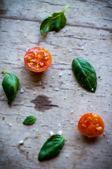 cherry tomatoes and basil (Rochelle Ramos) Tags: food vegetables garden tomato vegan raw fresh vegetarian basil cherrytomato