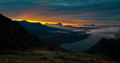 Edge Of Night (Tore Thiis Fjeld) Tags: sunset shadow sea sky mountain west color norway night clouds nikon view horizon edge fjord sunbeam sunray helgeland nordland moutainrange