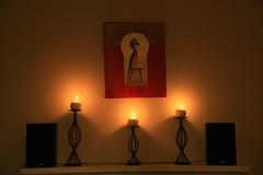 Diwali Decor with Candles (humdingor) Tags: atlanta flower georgia religious photography lights candle lakshmi decorative flash lamps diwali decor rangoli deepavali diya laxmi