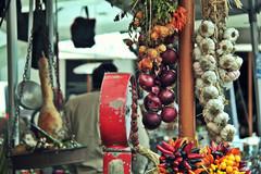 Sapori forti. (Melatini.) Tags: red italy orange rome roma yellow pepper italia market onions giallo garlic rosso mercato peperoncini arancio aglio cipolle