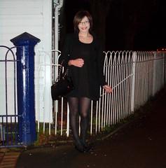 Darklands (Starrynowhere) Tags: black glasses dress legs tights crossdressing tgirl tranny transvestite opaque skater pantyhose crossdresser lbd nylons transvestism starrynowhere