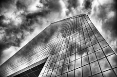 Storm Over the City (Jeff Clow) Tags: city storm reflection weather dallas downtown texas dfw upward ©jeffrclow