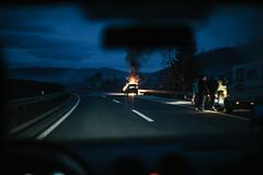 Burn (smithmakaay) Tags: fire highway f14 candid sarajevo bosnia ef50mmf14 burn tuzla balkan bosniaherzegovina bih zenica