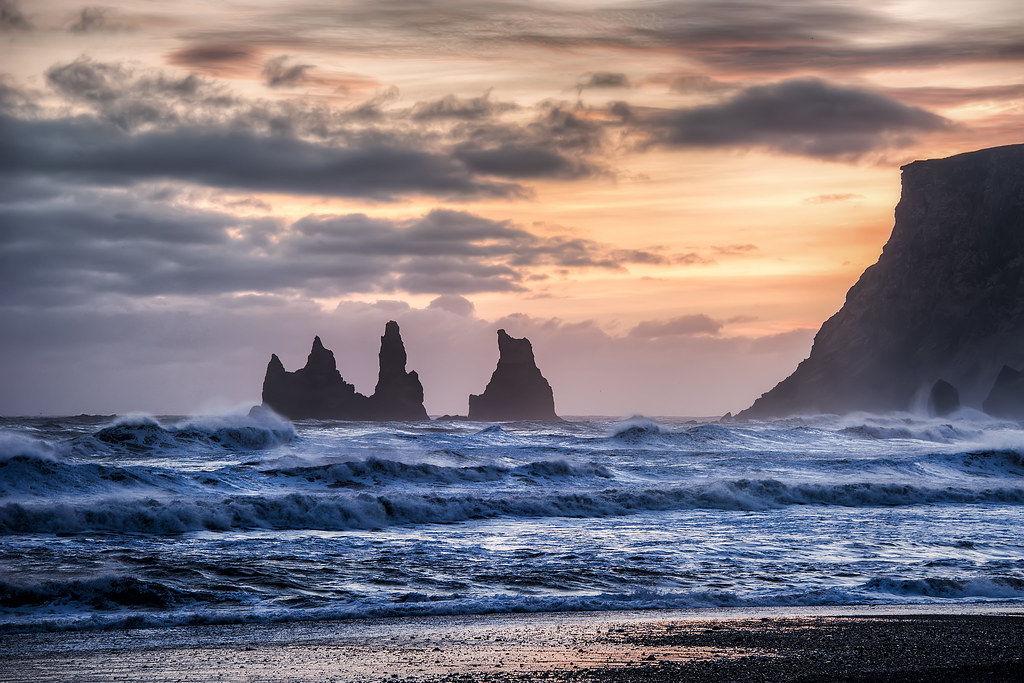 A zoomed in look at some rock formations off of the coast of Vik, Iceland.