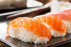 Healthy Japanese Nigiri Sushi (brent.hofacker) Tags: california red food orange fish seaweed green japan dinner sushi asian cuisine japanese avocado ginger healthy asia raw rice sashimi maki traditio