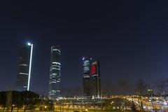 2014-02-18-222449 (Fernando Garcia (Hirgon)) Tags: madrid espaa noche estrellas nocturna torres rascacielos ctba comunidaddemadrid largaexposicion