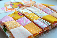 because one placemat isn't enough. (balu51) Tags: pink orange backlight squares sewing crafts wip 60mm patchwork mrz placemats 2014 lowlightconditions stashsewing copyrightbybalu51