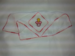 Fralda de Boca - Chupeta Rosa F002 (SaluArts) Tags: de pano cruz infantil bebê boca ponto paninho fralda fraldinha enxoval