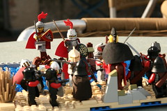 The Battle at Keling Beach (kiangreyhelm) Tags: blue beach water army cool sand lego contest attack tan queens lor troops entry lcc moc loreos