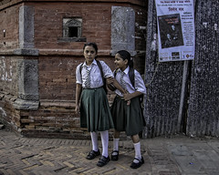 School Girls - Katmandu, Nepal (Culture Shlock) Tags: street travel school nepal girls friends people portraits women friend buddies portait pals buddy pairs kathmandu pal katmandu schoolgirls