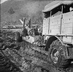Men of 99 Medium Battery, 74 Medium Regiment, Royal Artillery struggle to bring a 5.5 inch medium field gun into action through thick mud in the Camino area, Monte Camino, Italy November - December 1943.