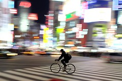 Life Goes On (memories of time) Tags: japan tokyo shibuya shibuyacrossing light city bicycle night neon street people