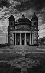 Mgarr Parish Church, Malta (Davide Seddio) Tags: republicofmalta malta europe parishchurchoftheassumptionoftheblessedvirginmaryinto mgarrchurch mgarr architecture blackandwhite