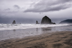 Stormy Cannon Beach (SandyK29) Tags: cannonbeach oregon coast oregoncoast storm stormy stormysky beach ocean pacificocean pacificnorthwest sand rocks surf water glisten haystacks clouds cloudysky mist misty reflections gray haze nature nikond800 landscape beachscape